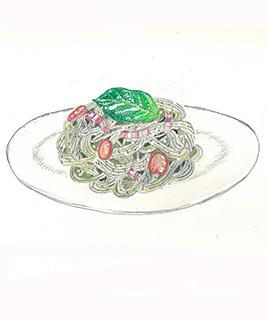 パンチェッタとトマトのバジーレ